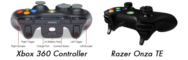 Xbox 360 controller vs Razer Onza TE