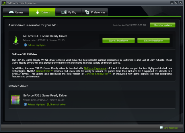 GeForce Experience 1.7