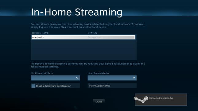 Steam In-Home Streaming menu