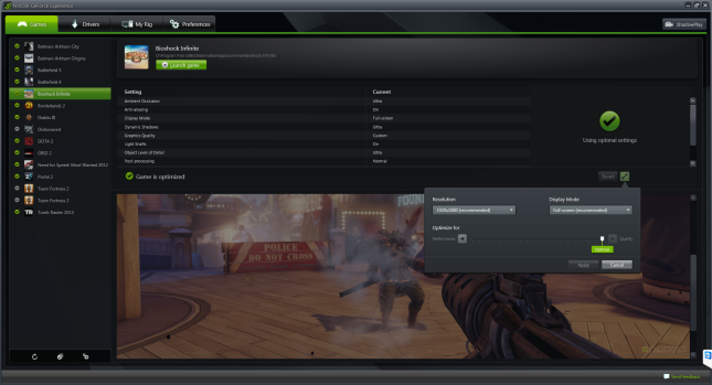 Bioshock Infinite GeForce Experience
