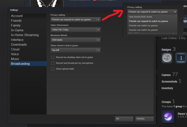 Steam-broadcasting-Menu