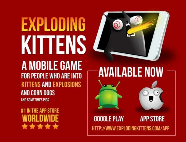 Exploding Kittens is now on Android
